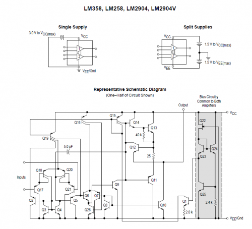 The LM358 is a dual low power operational amplifier.