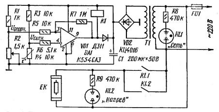 Рис 6. Принципиальная схема регулятора.  Предлагается простой регулятор температуры прогрева воды, выполненный на...