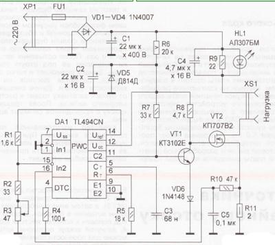 Рис. 1. В настоящее время широко применяются ИПП на микросхемах TL494, КА7500 (отечественный аналог - КР1114ЕУ4)...
