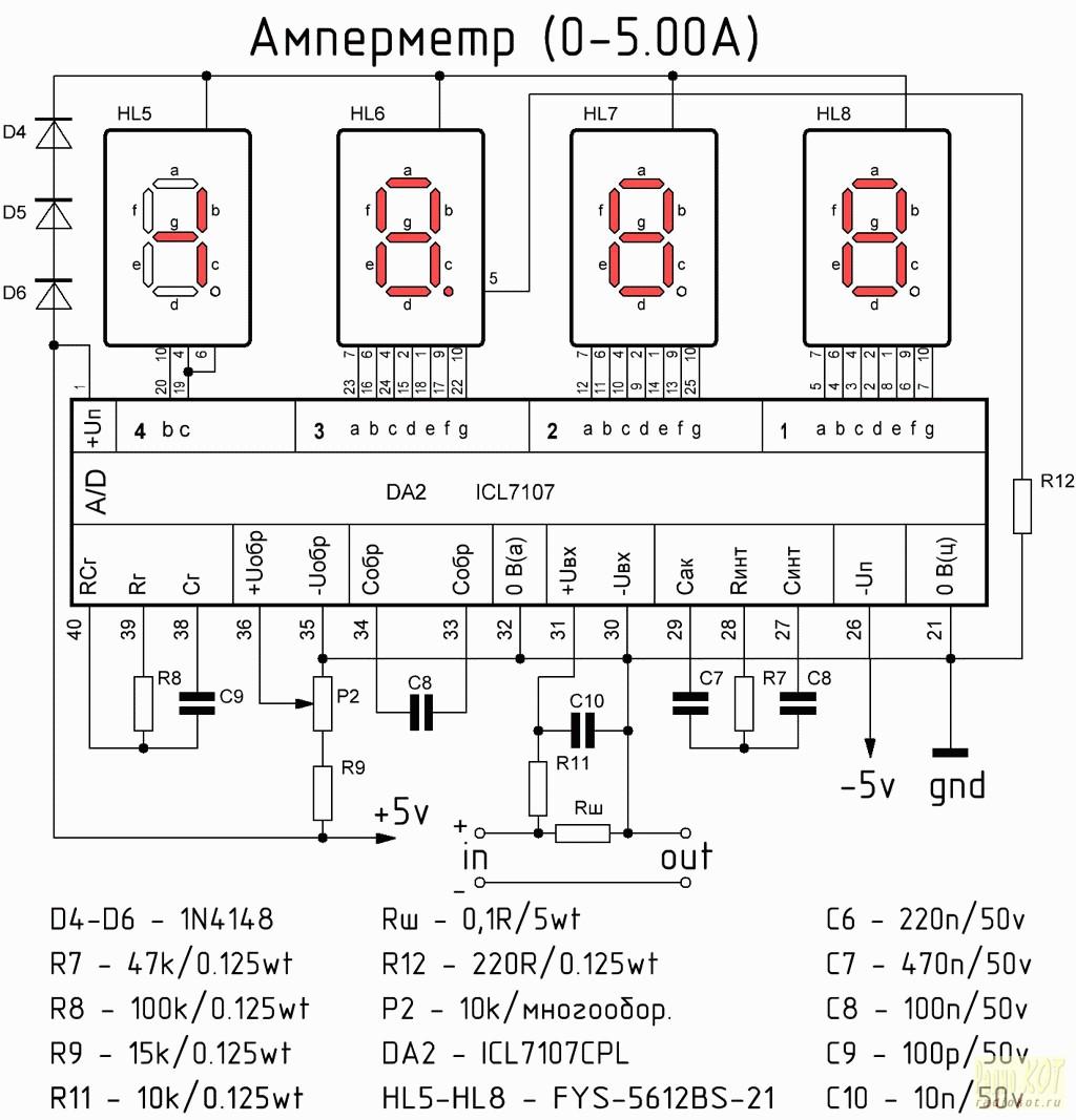 схема цифрового вольт-амперметра на цап к572пв2