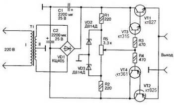 Источники питания. и. Стабилитроны могут быть любые маломощные на напряжение 12 В. Транзистор КТ817 можно заменить на...
