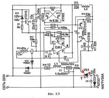 Рисунок 3 Принципиальная схема терморегулятора для инкубатора.
