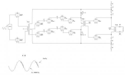 Входной усилитель на лампах 6Н1П и 6Н6П исправен.