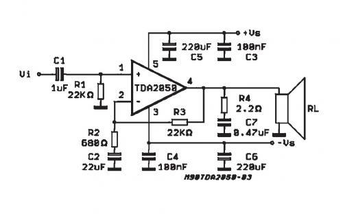 Проста схема підсилювача 35 Вт на мікросхемі TDA2050 - TDA 2050 монолітна інтегральна...
