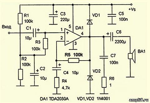 печатная плата и схема стерео унч на микросхеме tda2030 - Микросхемы.
