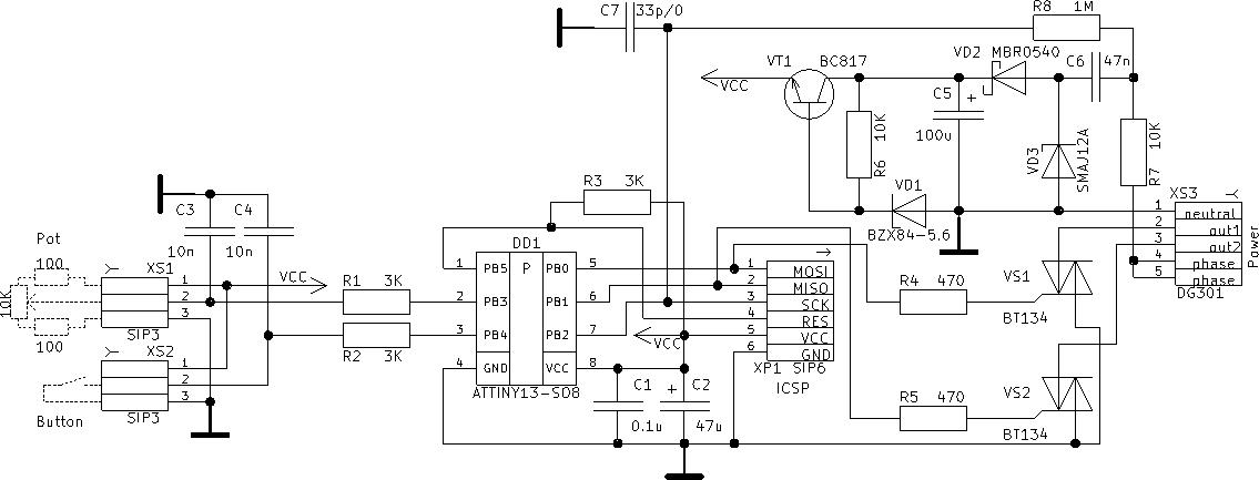 Attiny13 схема диммера