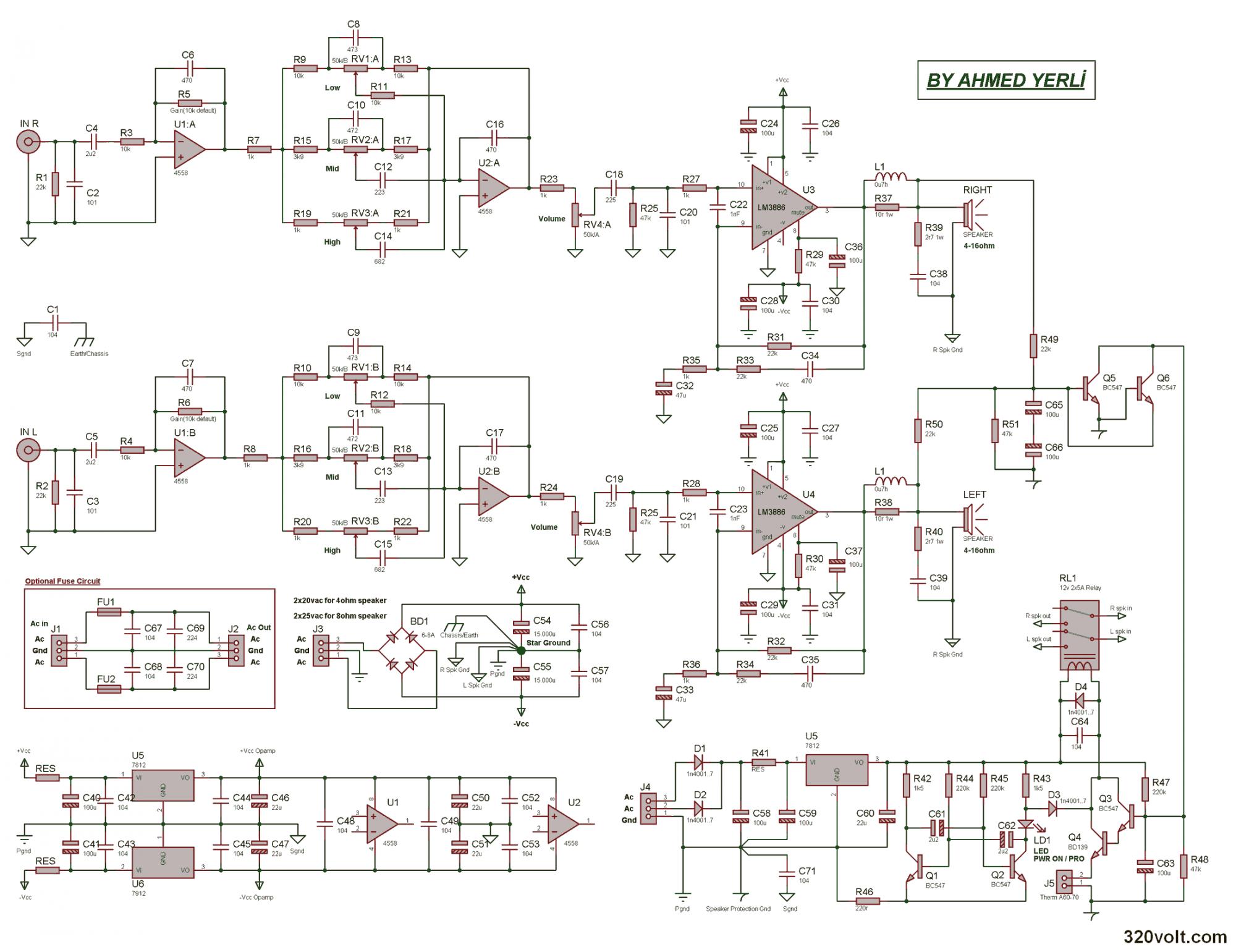 Схема усилителя звука 50 ватт