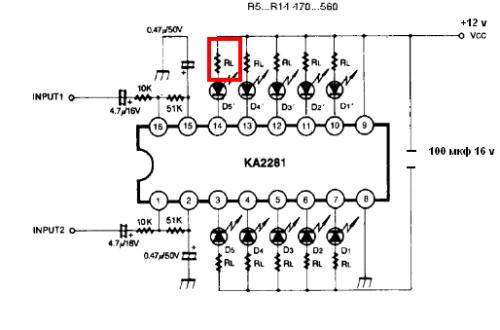 Принципиальная схема индикатора выходного сигнала на KA2281.