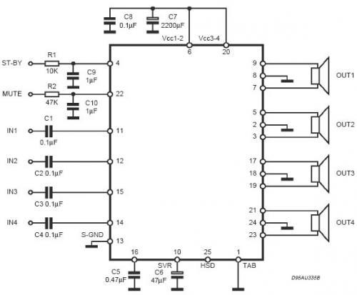 ...простая схема на микросхеме TDA7384.  Микросхема не дорогая около 250р