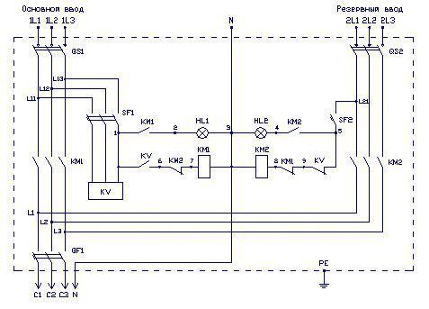 Вот электрическая схема АВР на