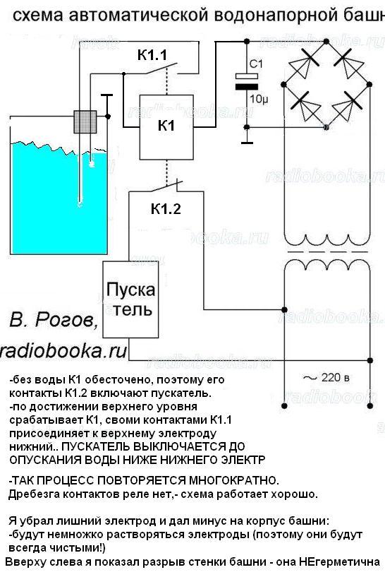 эл.схема управления насосом водонапорной башни