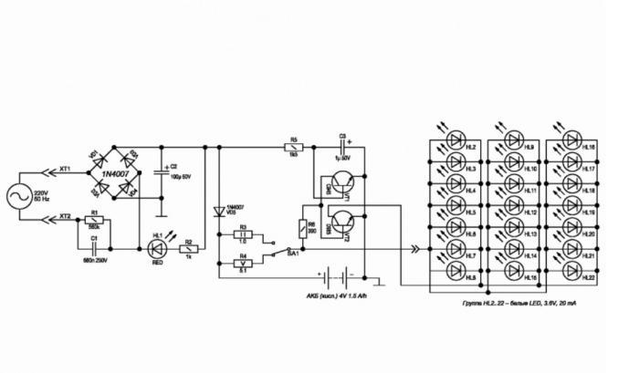 светодиодный аккумуляторный фонарь схема ремонт как сделать