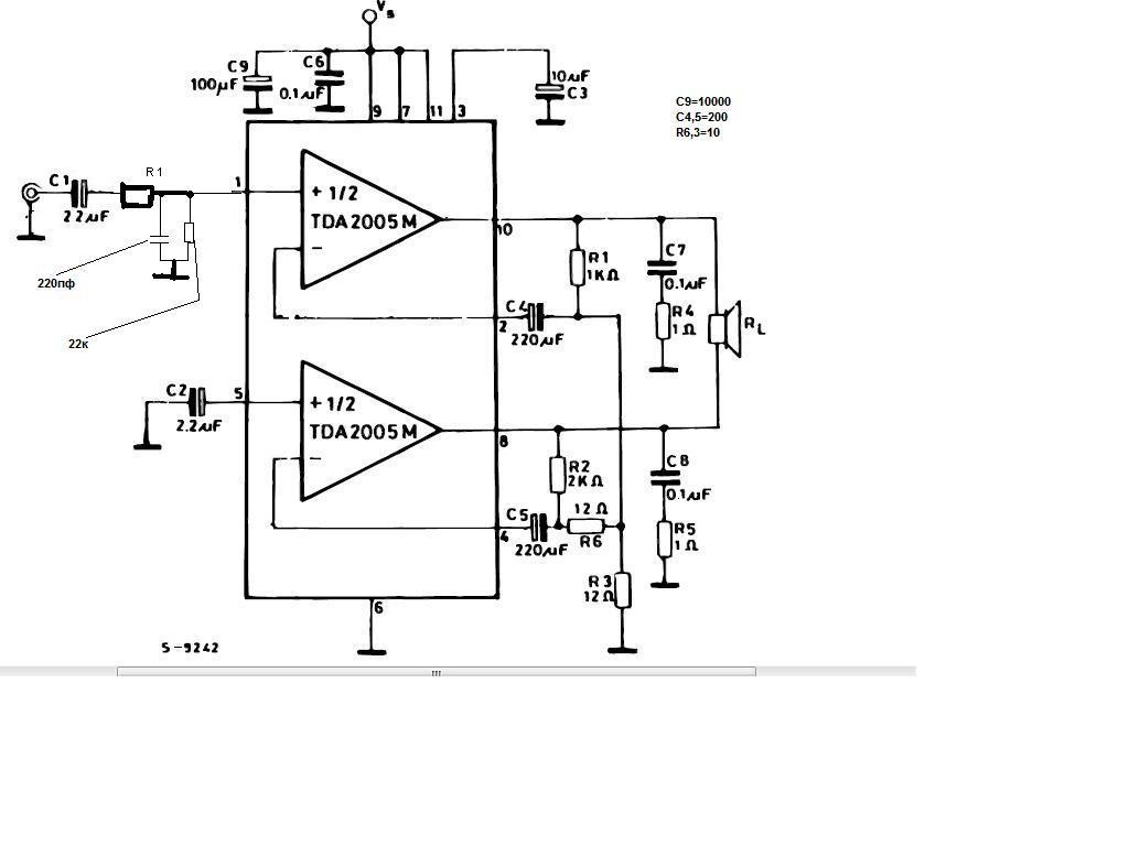 Рис 1 типовая схема включения микросхемы tda2005