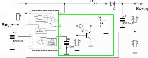 Рис.2.6. Схема повышающего стабилизатора на МС34063.  Эта схема делает на выходе 5.5В при входном напряжении от 3-х...