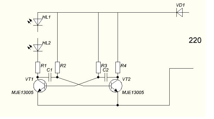 Мигающий светодиод на 220 вольт схема