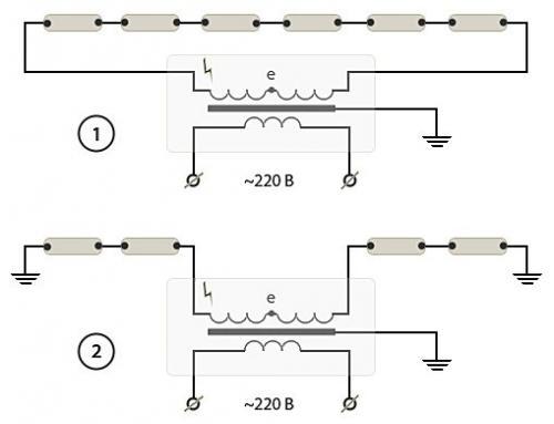 """... """"классической """" схемы (1) и подключением через нулевую точку (2). Схемы подключения неоновых трубок через повышающие..."""