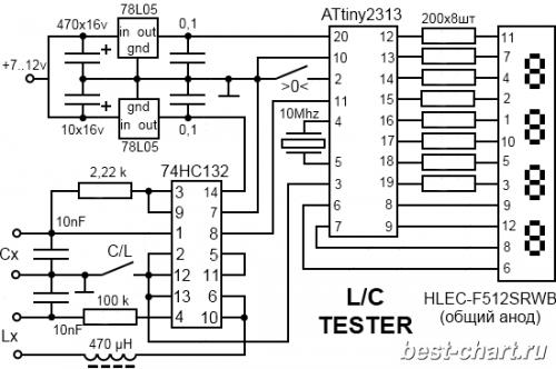 Принципиальная схема измерителя емкостей конденсаторов и индуктивности катушек (L/C тестера) на микроконтроллере...