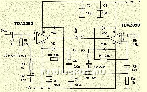 При использовании TDA2050 усилитель развивает мощность до 70 ватт, а при TDA2051 дает уже порядка 85 ватт.