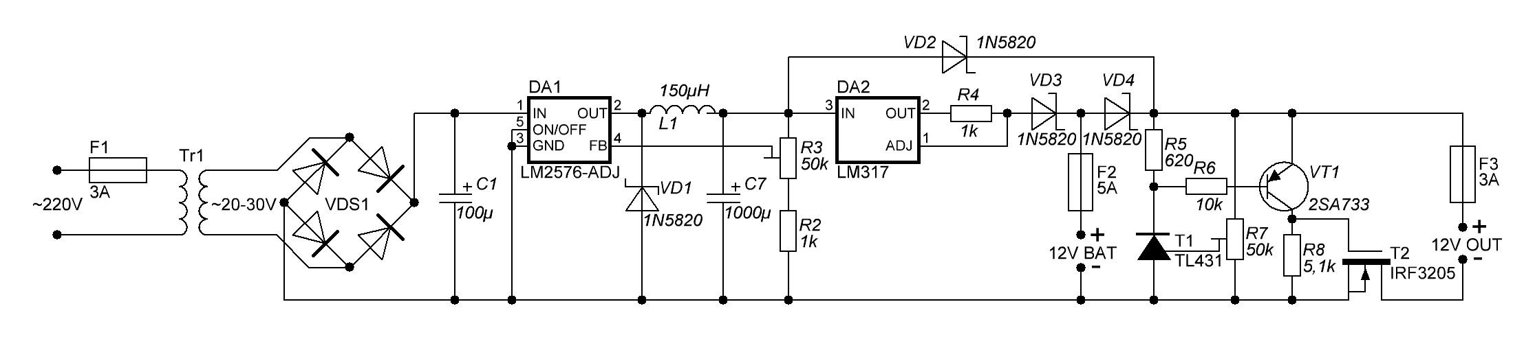 Зарядное устройство для акб 12v 10a схема