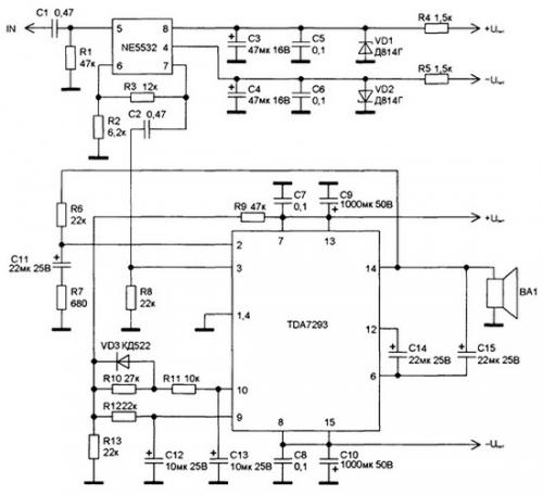 Назначение выводов микросхемы TDA7293 усилителя приведено в табл. 8.1, основные технические...