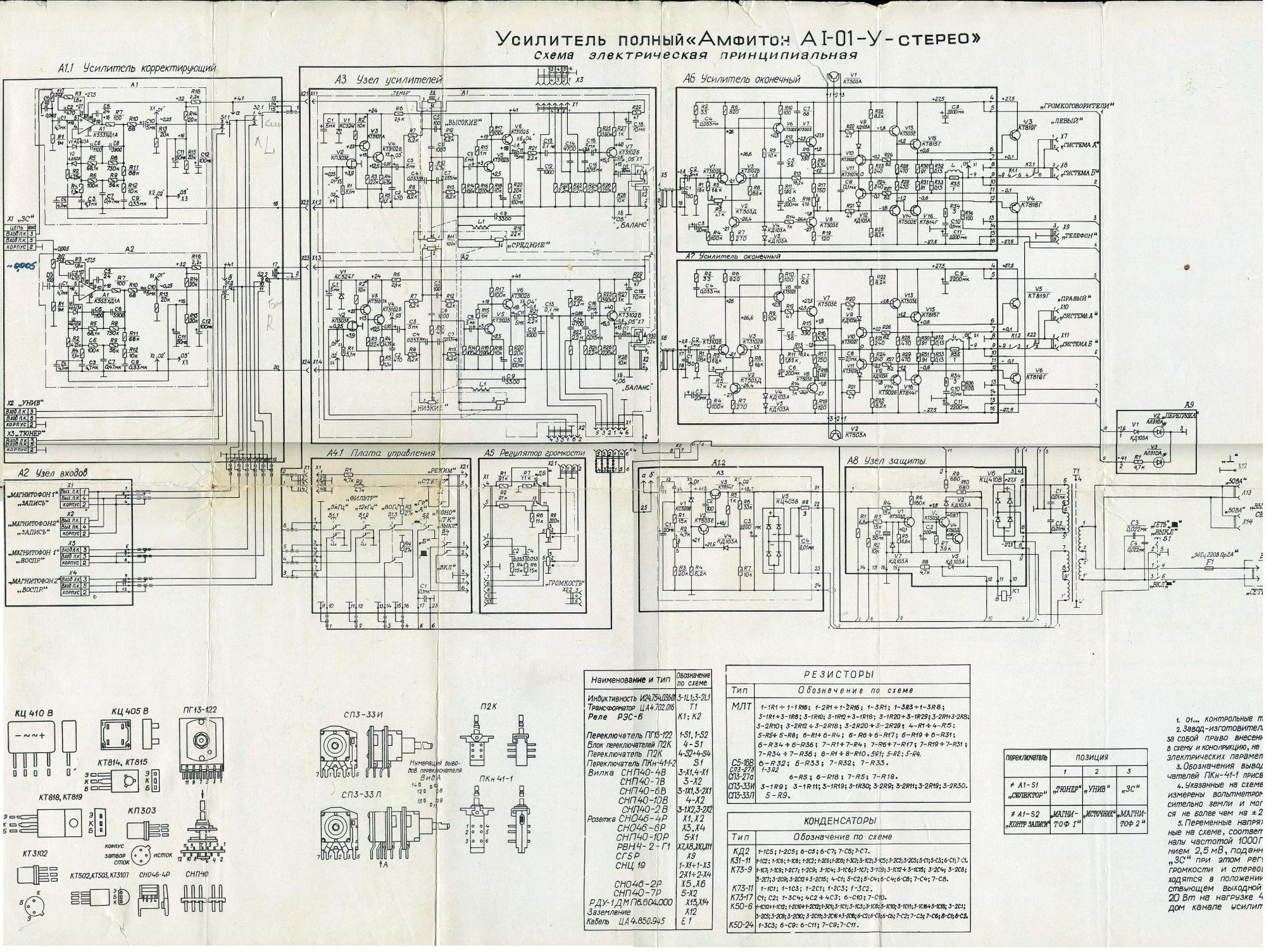 Схема на усилитель амфитон 50ум 104с