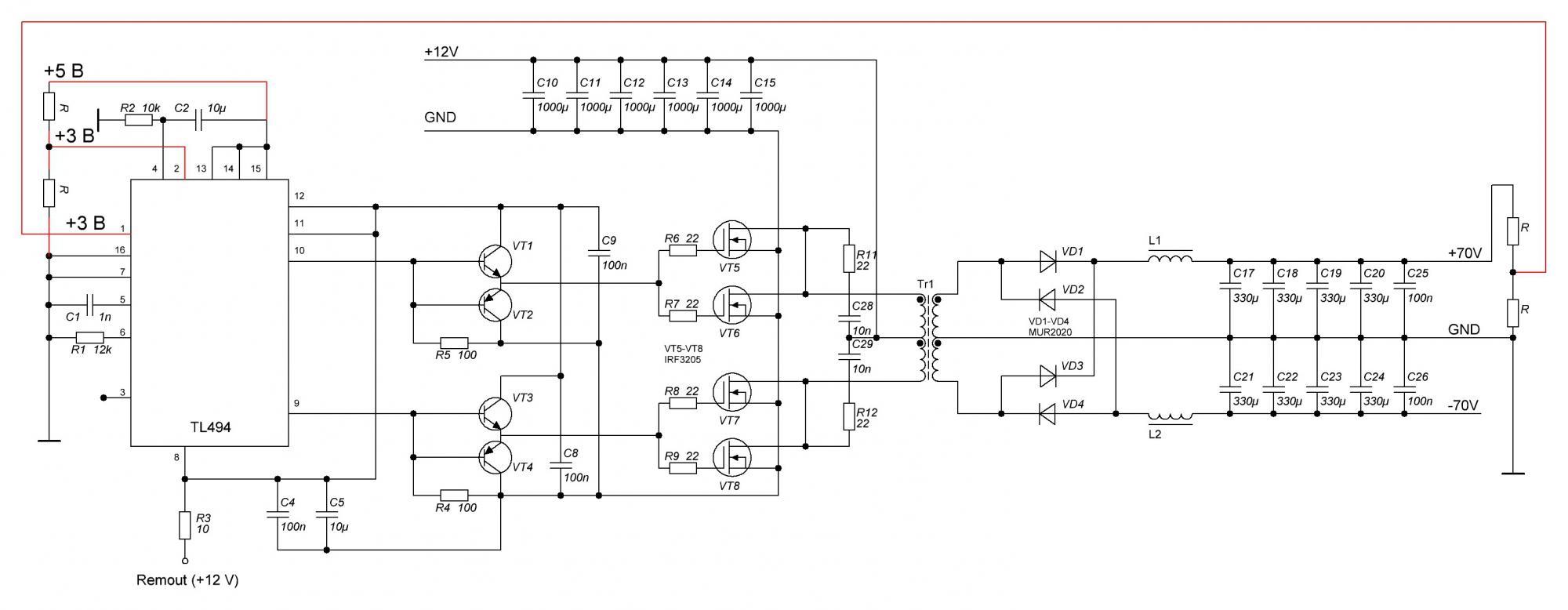 Схема преобразователя на tl494 с 12 на 220 своими руками 86