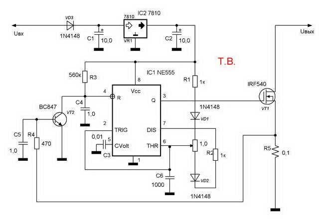 Стабилизатор тока схема с обратной связью