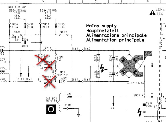 Позисторы на схеме телевизора