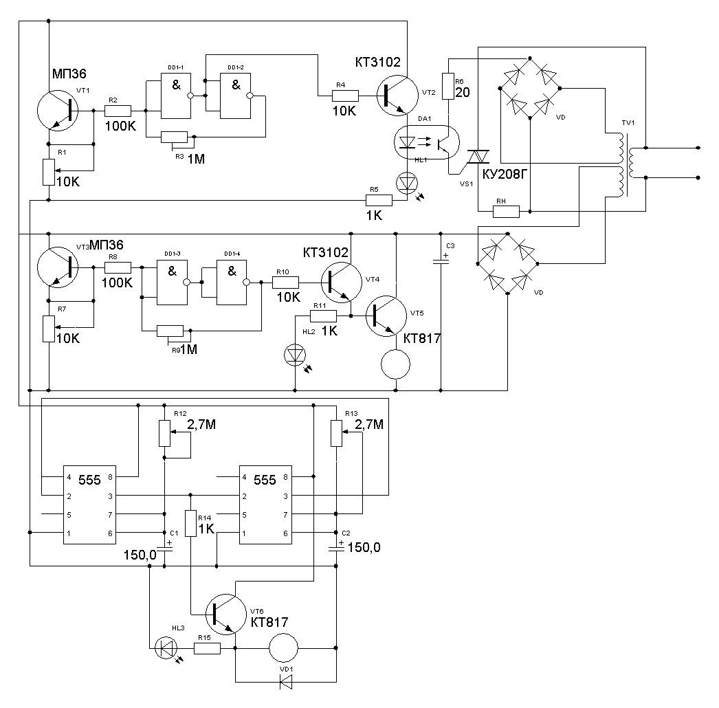 принципиальная схема терморегулятора ne555