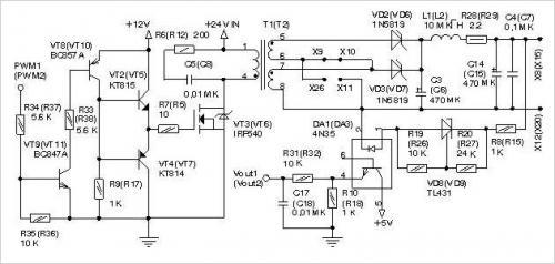 На транзисторах VT2, VT4, VT8, VT9 по пуш-пульной схеме собран драйвер полевого транзистора.