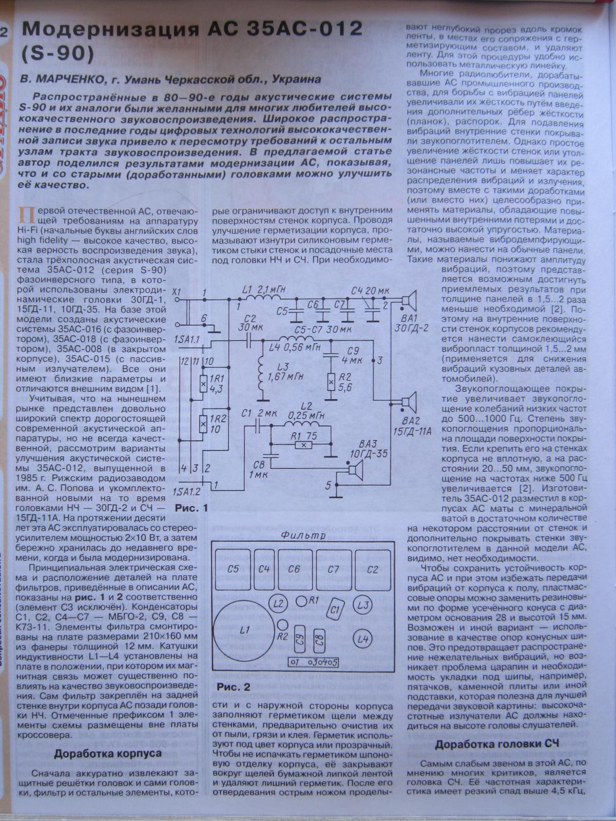 Схема аккустической системы