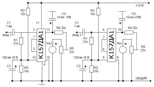 Схема подключения стрелочного индикатора звука