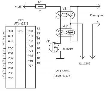Обе приведенные выше схемы, так же, как и любая из схем на тиристорах может работать как в режиме ключевого включения...