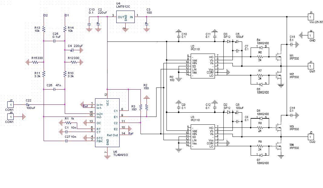 Схема усилителя класса d на tl494