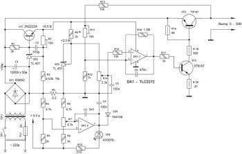 Схема БП показана на рисунке: Схема лабораторного.