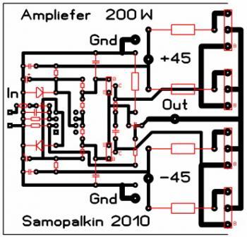 Рис.2. Плата усилителя (В архиве есть плата на 8 транзисторов)