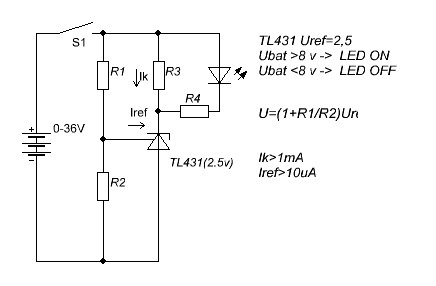 схема контроля напряжения на tl431.