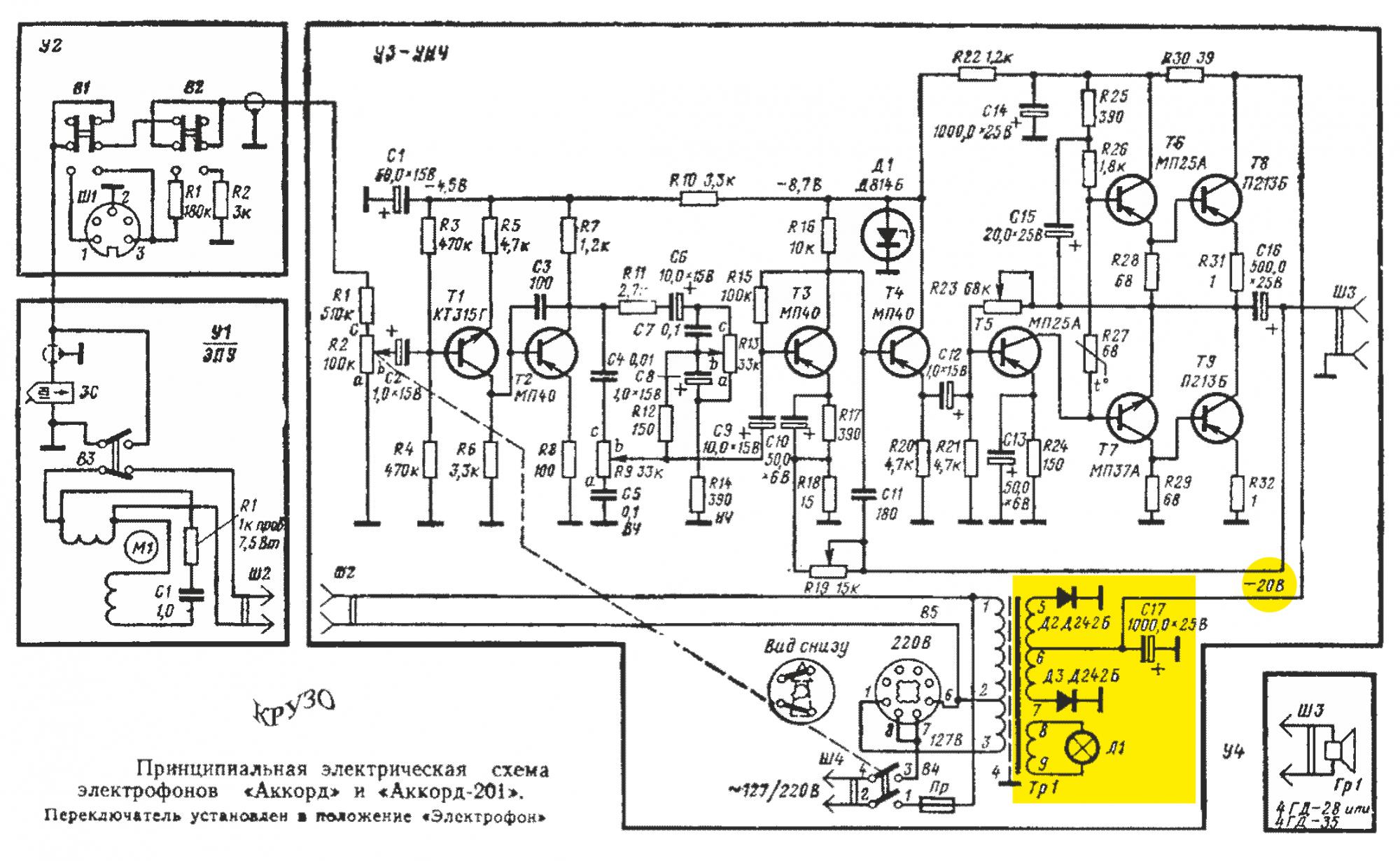 Принципиальные электрические схемы проигрывателей
