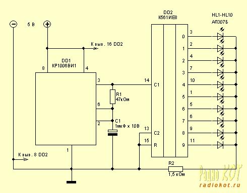 Схема, приведенная ниже на рисунке 1 позволит сделать вам бегущий огонь из 10 светодиодов на микросхеме таймере...