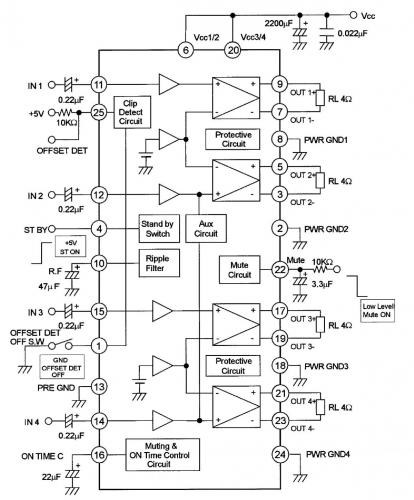 Ремонт заключался в замене сдохшей микры унч pal007 (она же TDA7560) на вроде бы как.