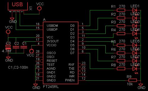 Очень простая схема цветомузыки на 8 светодиодов.  Ftdichip.  USB Цветомузыка на микросхеме FT245RL.