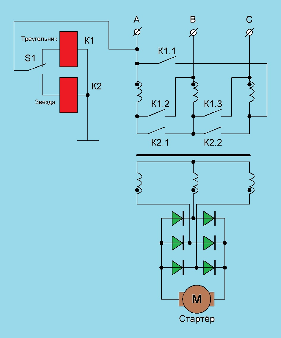 Схема подключения электродвигателя звезда треугольник в чем разница