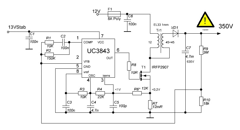 Dc-dc преобразователи на uc3843 схема