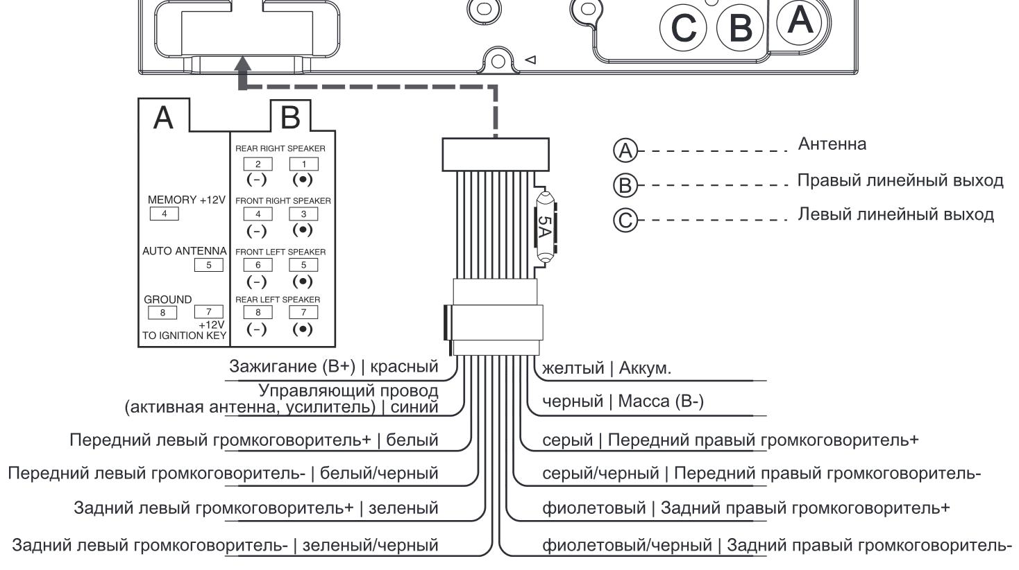 Схема подключению автомагнитолы