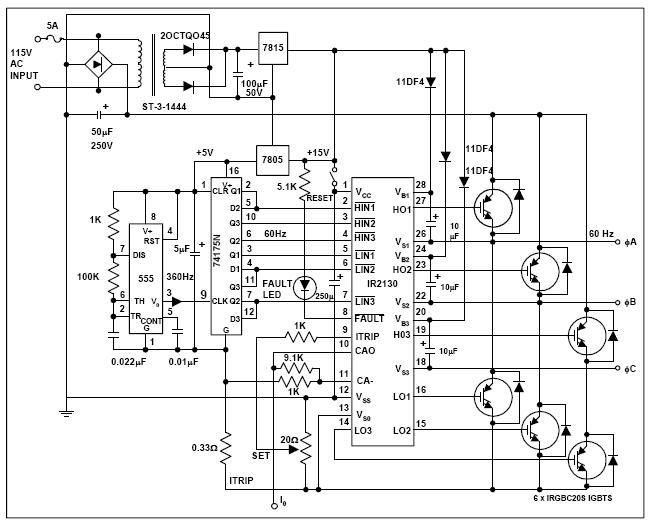 Электрическая схема частотных преобразователей для асинхронных двигателей