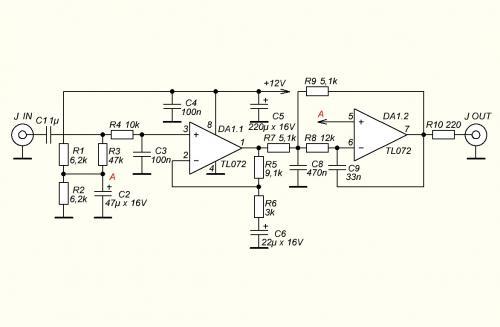Предусилитель (tl072) для УМЗ сабвуфера на TDA7293.