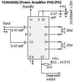 Основные параметры усилителя приведены в таблице.  TDA 8560Q - более...