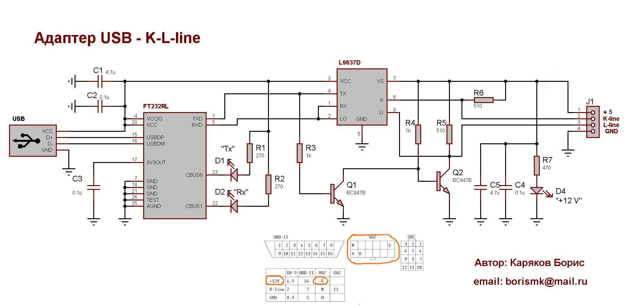 K l line адаптер usb