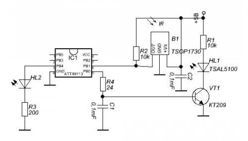 ...сделать датчик, работающий по отражению ИК сигнала, во многих конструкциях робототехники это называлось ИК барьер.