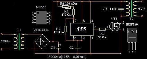 Строчник на 555 таймере.  Устройство представляет собой генератор частоты с усилителем мощности на полевом.